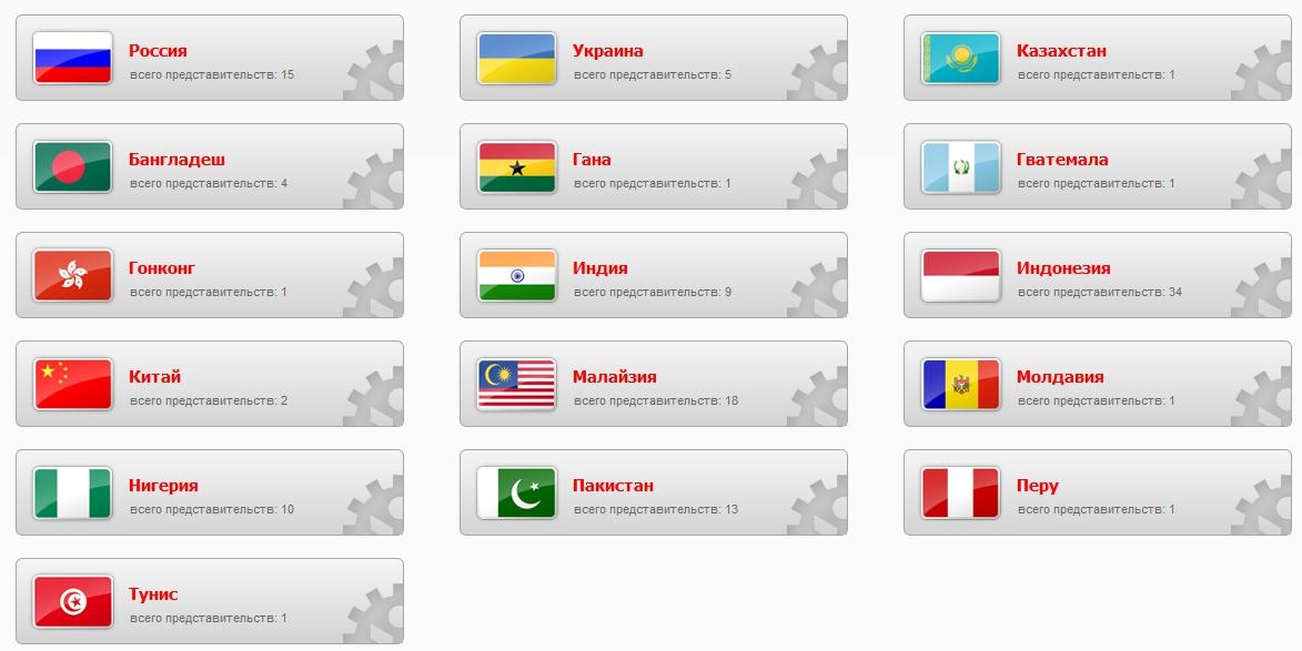 Представительства InstaForex в странах мира